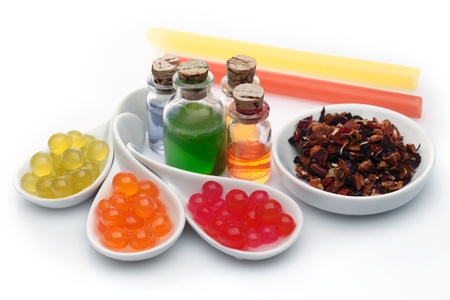 beverage display: Boba bubble tea ingredients arrangement with assorted syrup and pearls Stock Photo
