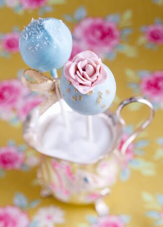 cake pops: High angle Rose Flower Cake Pop with beautiful background Stock Photo