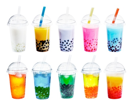sorts: Different sorts of Boba Bubble Tea Cocktail. Standing in a row isolated on white background.