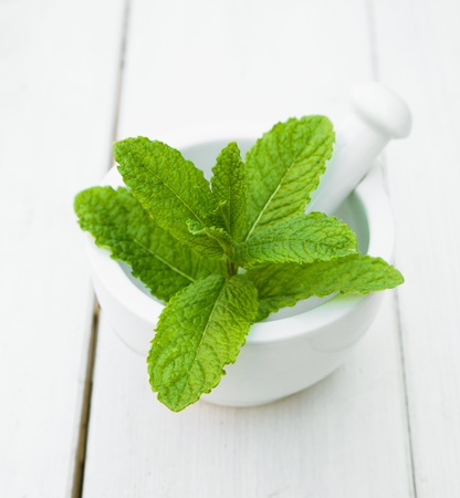 Some leaves of Mint in a mortar with pestle on a wooden table for herbs concepts Stock Photo - 13864235