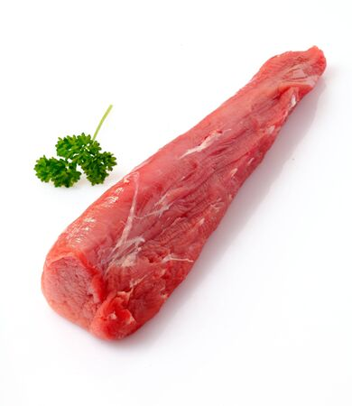 Raw fillet of pork. Tenderloin or sirloin isolated on white background Stock Photo