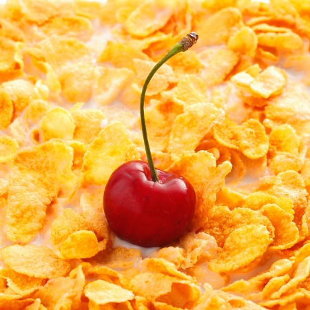 Breakfast Background, Cereal with cherry fruit close up photo
