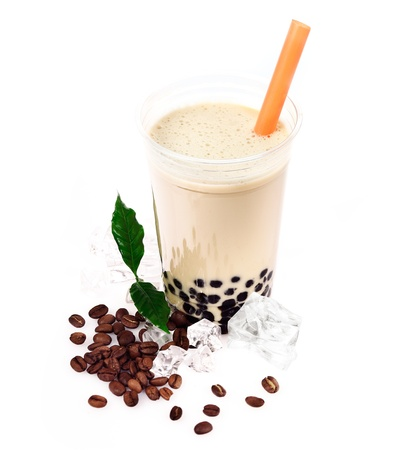 Coffee Boba Bubble Tea with fruits and crushed ice. photo