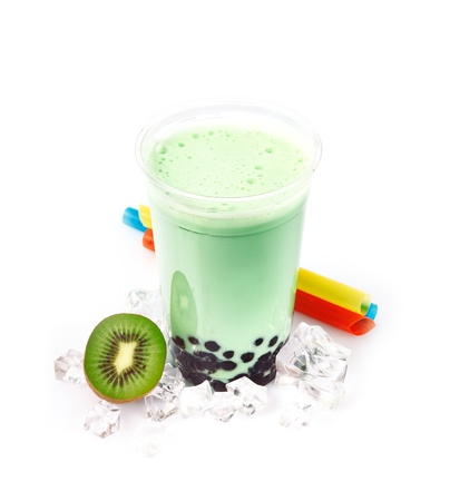 red tea: Kiwi Boba Bubble Tea with fruits and crushed ice. Stock Photo