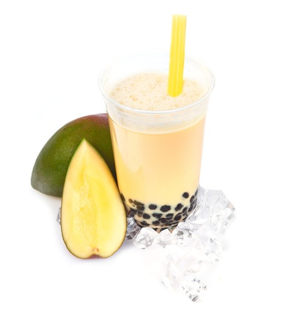 pearl tea: Mango Boba Bubble Tea with fruits and crushed ice  Stock Photo