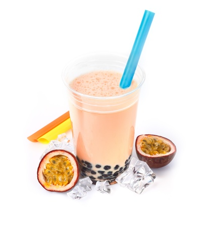 pearl tea: Passion Fruit Boba Bubble Tea with fruits and crushed ice