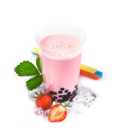 Strawberry Boba Bubble Tea with fruits and crushed ice  photo