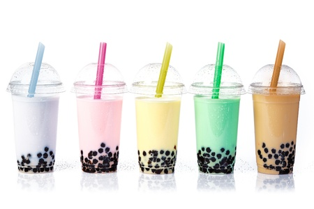 pearl tea: Various Bubble Tea in a row isolated on white background