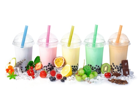 smoothie strawberry: Various Bubble Tea in a row isolated on white background with different fruits