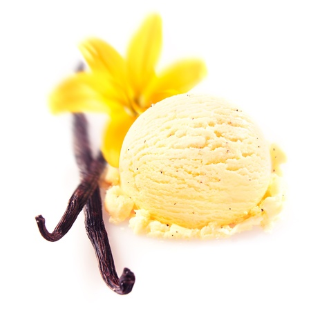 Vanilla pods and flower with a delicious scoop of rich creamy icecream served for a refreshing summer dessert Foto de archivo