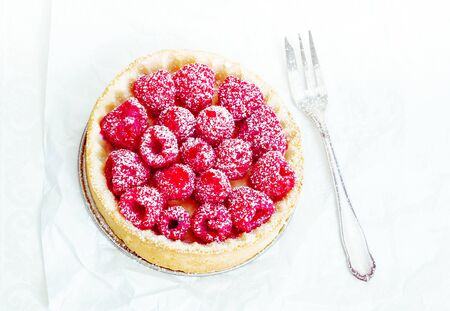 High angle Fruity Tart with delicious raspberries and powdered sugar Stock Photo - 14320614