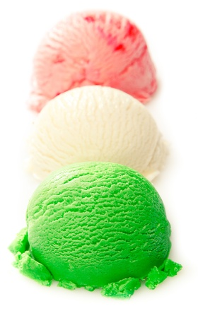 Close up shot of green, white, and red ice cream ball on white background - Italian ice cream concept
