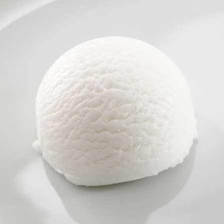Single scoop of refreshing tangy sour lemon sorbet dessert on a white plate photo