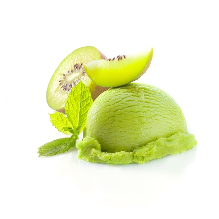 sweet woodruff: Tropical kiwi icecream dessert with delicious creamy green ice-cream served wioth fresh sliced kiwi fruit garnished with mint