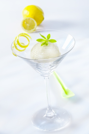 sweet woodruff: Appetizer of tangy refreshing lemon sorbet served in a stylish martini cocktail glass