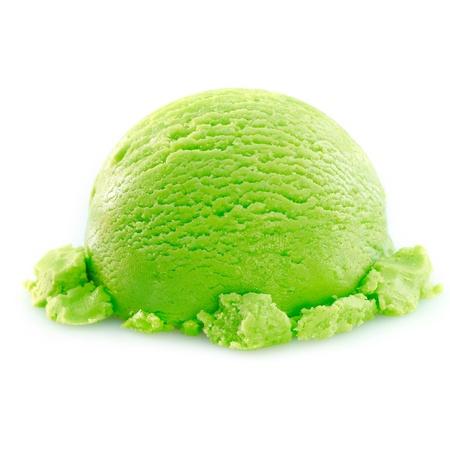 helados: Manzana cucharada de helado sobre fondo blanco. Por concepto de helado de echar un vistazo a mi lista Foto de archivo
