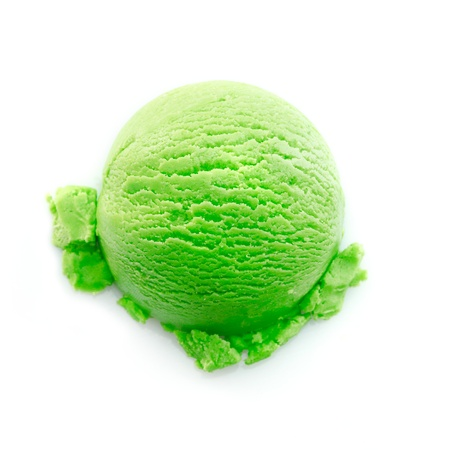 cake ball: Heavy green color icecream scoop isolated on white background