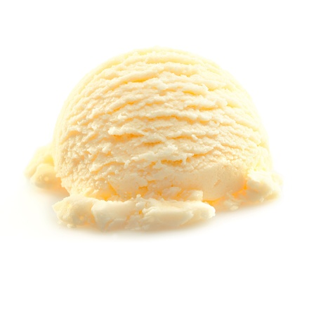 parlor: Scoop of yellow Vanilla icecream isolated on white background. Stock Photo