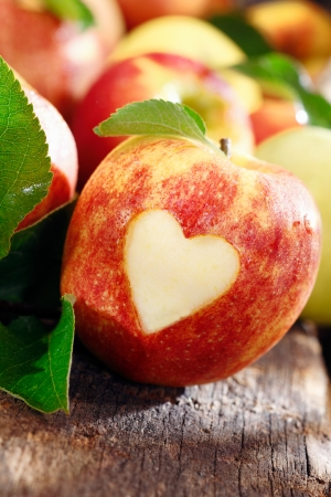 Love of apples concept with a neatly incised heart in the skin of a ripe red apple on an old weathered wooden table photo