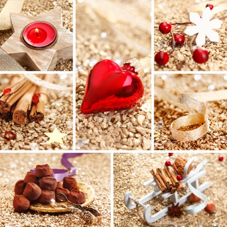 christmass: Decorative Christmas collage with spices, decorations, handmade chocolates and a red heart on a textured golden background for your greeting card or invitation Stock Photo