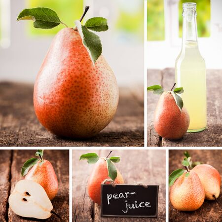 fruit drinks: Collage of fresh pears with whole fruit, cut and halved, and freshly squeezed bottled pear juice on a weathered rough textured wooden table Stock Photo