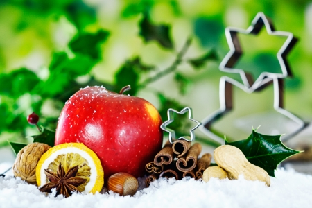 Christmas still life background with a red apple, nuts, and spices against green foliage with holly and stars photo