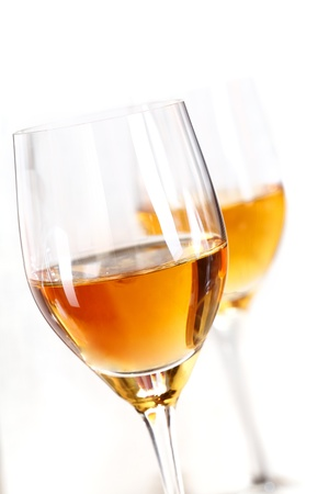alcohol series: Two glasses of sherry isolated on white background