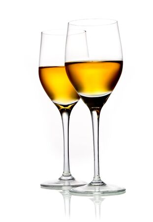 Two glasses of sherry isolated on white Stock Photo - 15394059