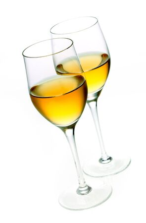 shooter drink: Two glasses of sherry isolated on white