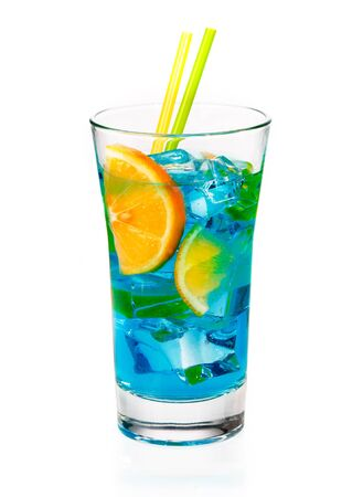 longdrink: Cool refreshing blue curacao cocktail in a tall glass with orange slices and ice isolated on a white background