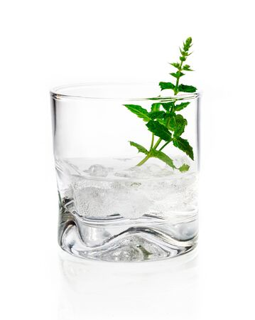 vermouth: Shot of gin, vermouth or vodka served chilled over ice in a tumbler garnished with fresh herbs on a white background