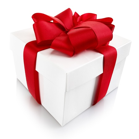 sweepstake: Decorative Christmas or Valentine gift - square white cardboard box with lid tied with a beautiful big red bow