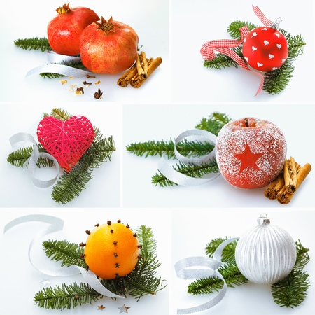 Collage of different colourful festive Christmas decorations on sprays of pine  photo
