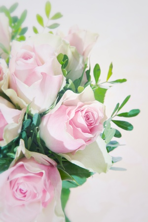 Closeup of a beautiful pink rose in an arrangement of fragile pink roses with greenery over a white background photo