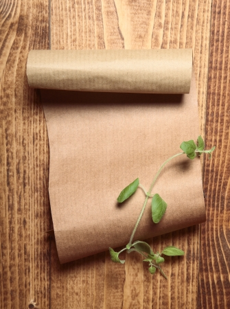 Brown paper on wooden surface and a sprig of green Stock Photo - 17853286