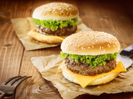 Two appetizing cheeseburger with meat, cheese and salad photo