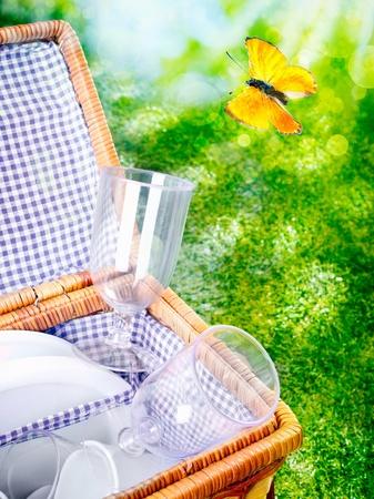 Cesta de picnic abierto forrado con tela recién obtenida azul y blanco contra primavera o verano exuberante vegetación con una colorida mariposa naranja volando Foto de archivo - 18566206