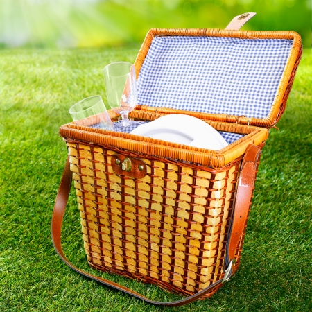 wicker: Fitted wicker picnic basket or hamper standing on fresh lush green grass with the lid open displaying a pretty blue and white checked lining with plates and glasses