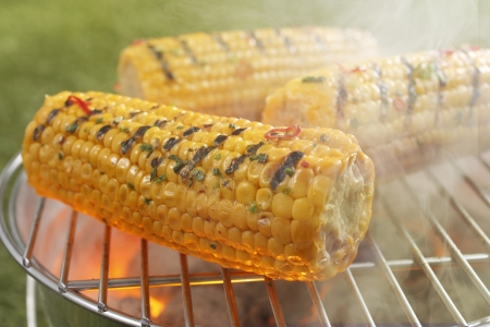 Fresh ripe golden yellow corn on the cob sizzling on the fire of a small outdoor portable barbecue photo