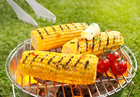 Grilled Corncob en brochette in a close up shot