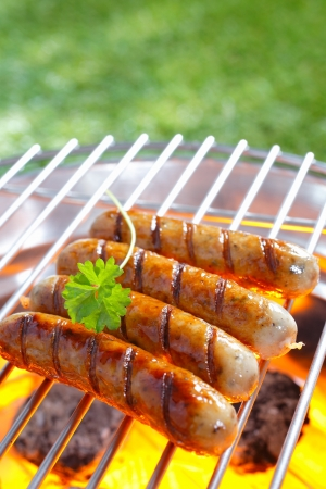 Close up shot of Italian sausage on the grill photo