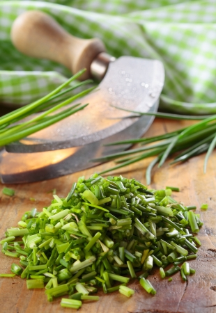 Pile of chopped fresh chives lying on a wooden kitchen table with a curved chopping knife and checked green and white cloth Stock Photo - 18995320