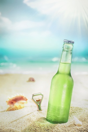 unlabelled: Ice cold green unlabelled bottle of refreshing lager or soda standing upright in the golden sand on a tropical beach under the hot rays of the summer sun