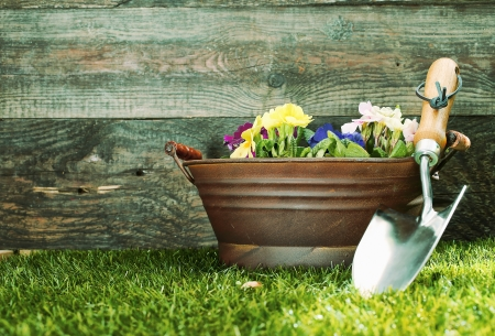 Small silver metal garden trowel propped up against a tub filled with colourful flowers in front of a rustic wooden garden shed with copyspace photo