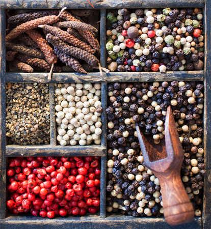 peppercorns: A selection of different peppercorns including, white, black, pink and mixed dried spice in an old printers tray, close up overhead view with a small wooden scoop