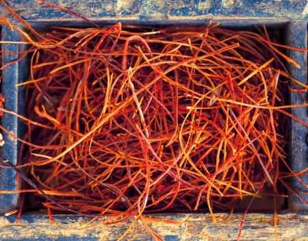 Dried red hot chilli threads, also called chilli wire, a pungent strong spice used as a culinary seasoning and flavouring Stock Photo - 22230046