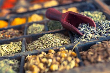herbs: Primer plano de diferentes especias y hierbas como lavanda.