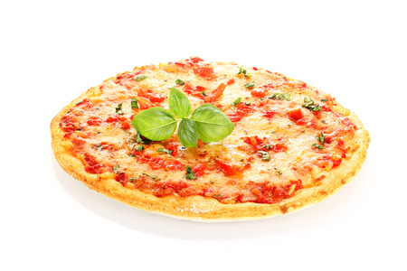 Pizza Margherita decorated with basil leafs isolated on white Imagens