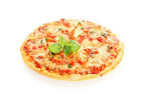 Pizza Margherita decorated with basil leafs isolated on white background