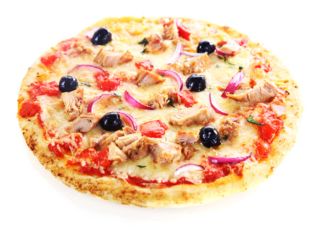 Pizza isolated on white background with tuna fish, onions and olives photo